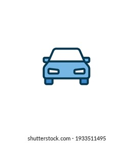 Car front view icon. Simple filled outline style sign symbol. Auto sport race, transport concept. Vector illustration isolated on white background. EPS 10.