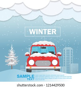 Car front View on snow winter season Vector Illustration