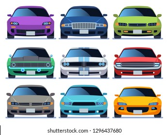 Car front view set. Urban traffic vehicle model cars icon transport color fast auto road city traffic driving flat vector illustration