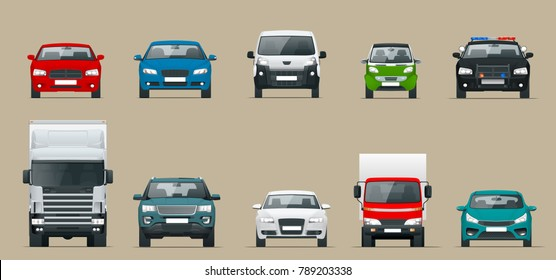 Car front view set. Vehicles driving in the city. Vector flat style cartoon illustration isolated on grey background