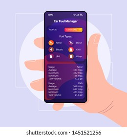 Car fuel control smartphone interface vector template. Mobile app page color design layout. Diesel, LPG, CNG usage screen. Flat UI for application. Hand holding phone with refueling manager on display