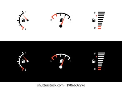 Car fuel tank indicator with gas, petrol, diesel gauge set. Different dashboard auto panel equipment with arrow needle for indicating fuel level vector illustration isolated on black white background