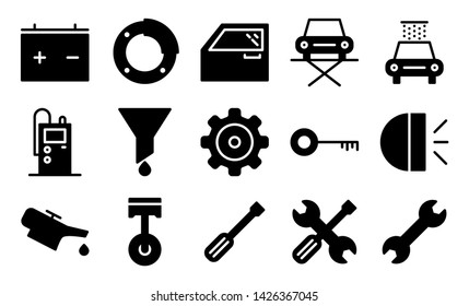 car garage glyph icon symbol set