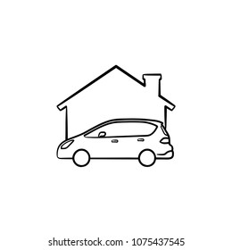 Car garage hand drawn outline doodle icon. Vector sketch illustration of car and house for print, web, mobile and infographics isolated on white background.