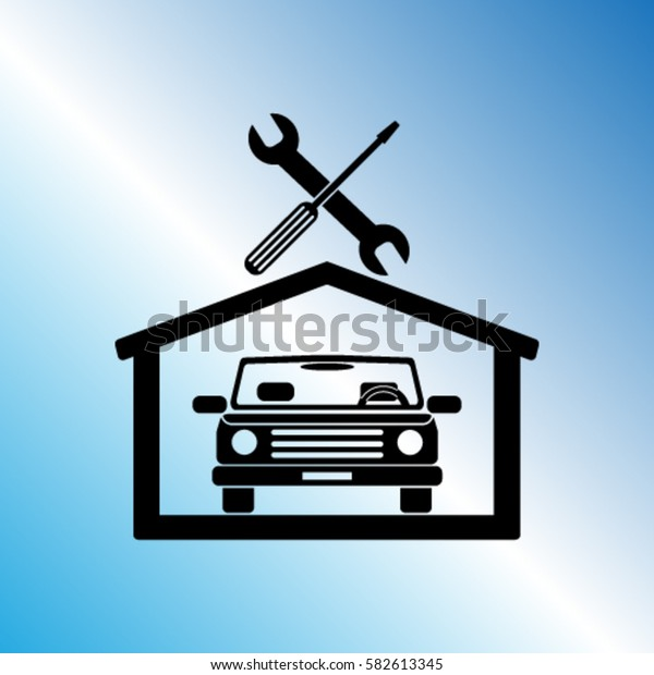 Car in the garage icon, autoservice icon