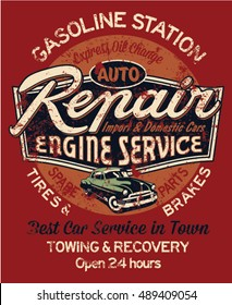Car garage repair service, print for t shirt in custom colors, grunge effect in separate layer.