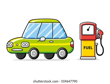 Car and gas fuel pump isolated. Petrol filling station.