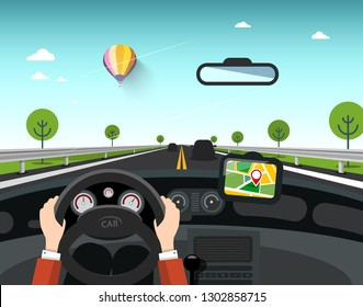 Car with GPS Navigation on Road. Hands on Steering Wheel with Sunny Day and Rural Landscape Behind the Window