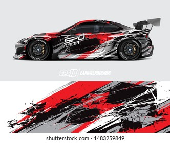 Car graphic design concept. Graphic abstract grunge stripe designs for wrapping vehicles, race car, cargo van, pickup truck and racing livery.