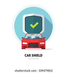 Car guard shield sign, collision insurance shop store logo emblem auto tuning service red sport car front view, protection, driver flat security system badge. Theft modern design label illustration.