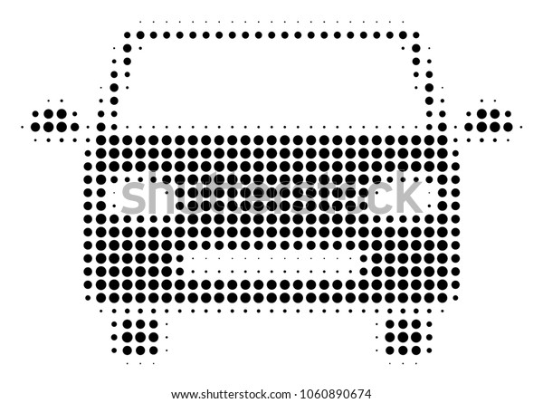 Car halftone vector icon. Illustration style is dotted iconic Car icon symbol on a white background. Halftone pattern is circle elements.