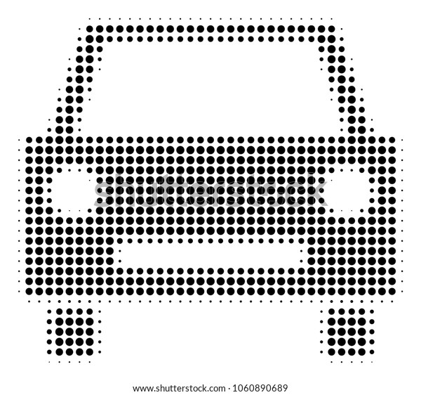 Car halftone vector icon. Illustration style is dotted iconic Car icon symbol on a white background. Halftone pattern is round blots.