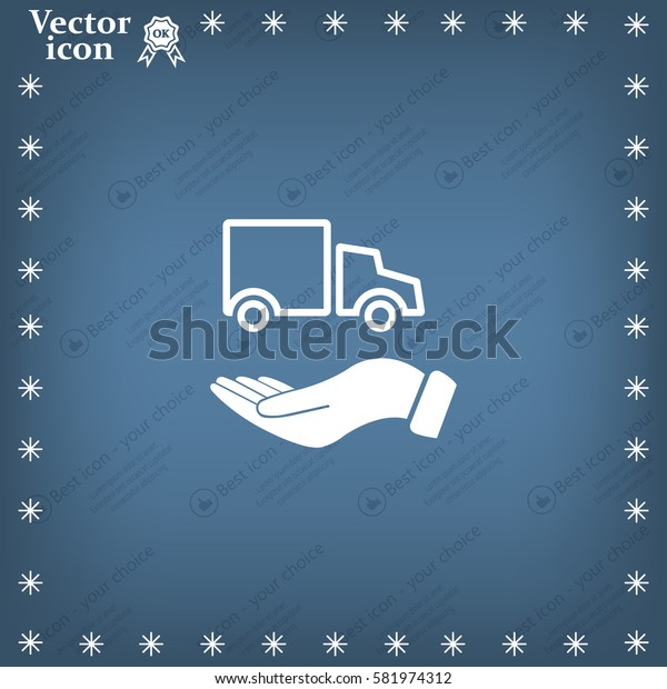 car in hand - vector icon