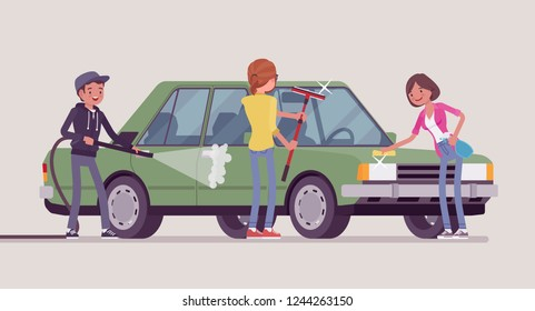 Car hand wash self-service facilities, young people. Volunteers or family clean, wash, polish together vehicle exterior with tools at automobile service station. Vector flat style cartoon illustration