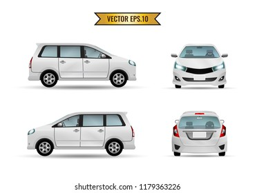 Car hatchback white realistic isolate on the background. Ready to apply to your design. Vector illustration.