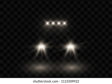 Car head lights shining from darkness background.Vector silhouette of car with headlights on black background.