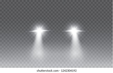 Car head lights shining from darkness background.Vector silhouette of car with headlights on black background. Easy light flash .Vector illustration.