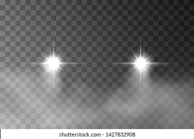 Car headlight effect in fog isolated on transparent background. Realistic white glow round transport headlights in smoke. Vector bright car lights with mist at night for your design.