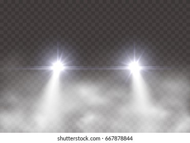 Car headlight effect in fog isolated on transparent background. Realistic white glow round transport headlights in smoke. Vector bright car lights effect with mist at night for your design.