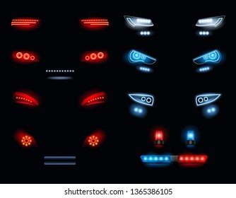 Car headlights. Dark environment with red and white automobile lights vector realistic collection. Headlight automobile, lamp realistic headlamp illustration