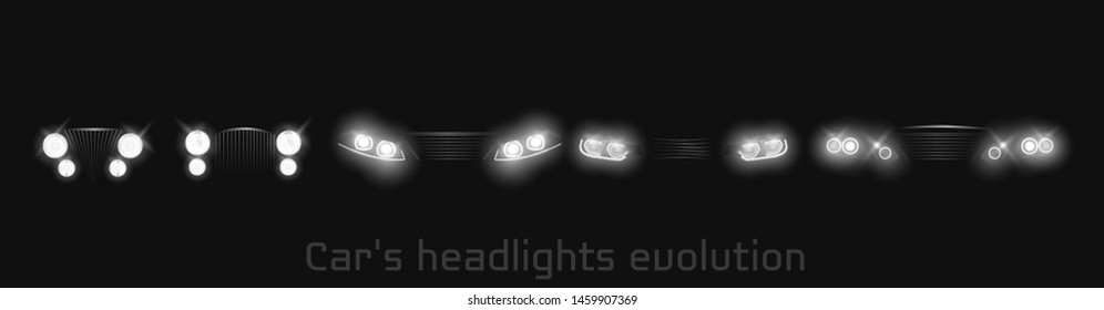Car headlights evolution, glowing front view headlamps timeline from retro automobile to modern luxury xenon, laser or LED vehicle lamps isolated on black background realistic 3d vector illustration