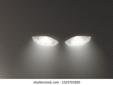 Car headlights. Headlight automobile, lamp realistic headlamp illustration