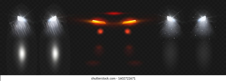 Car headlights shining in snow and rain with reflection on wet road at night. Vector realistic set of glowing white front and red back lamps flares in darkness isolated on transparent background