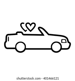 Car with heart balloons. Vector icon. Black and white illustration. Line drawing.