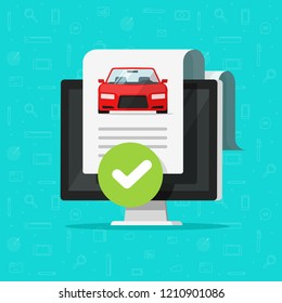 Car history check or report document approved on computer vector, good vehicle electronic diagnostic or automobile monitoring service passed, flat cartoon auto test with checkmark or tick on pc