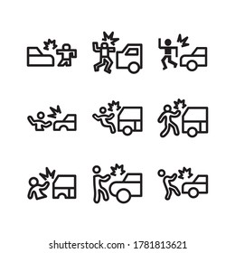 Car Hit icon or logo isolated sign symbol vector illustration - Collection of high quality black style vector icons