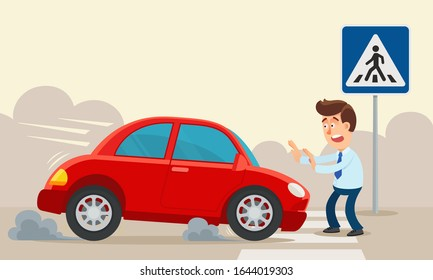 A car hit a person at a pedestrian crossing. Car extremely brakes in front of man under traffic sign - pedestrian crosswalk. Vehicle accident, violation. Vector illustration, flat cartoon style.