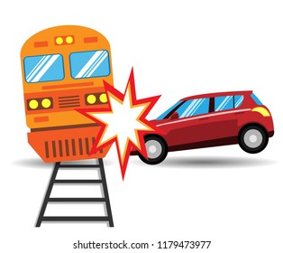 The car hit the train isolated on white background. Riders who are drunk or negligently cause serious traffic accidents. Flat design vector illustration.