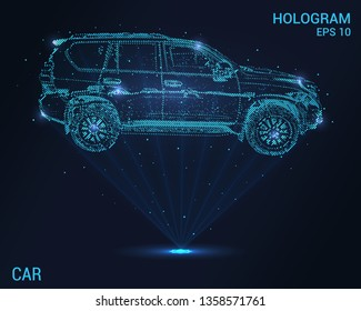 The car is a hologram. Holographic projection of the car. Flickering energy flux of particles. The scientific design of the car
