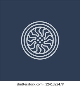 car hubcap icon. car hubcap linear design concept from Car parts collection. Simple element vector illustration on dark blue background.