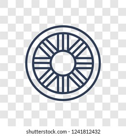 car hubcap icon. Trendy linear car hubcap logo concept on transparent background from car parts collection