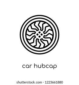 car hubcap icon. Trendy modern flat linear vector car hubcap icon on white background from thin line Car parts collection, outline vector illustration