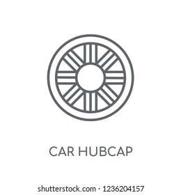 car hubcap linear icon. Modern outline car hubcap logo concept on white background from car parts collection. Suitable for use on web apps, mobile apps and print media.
