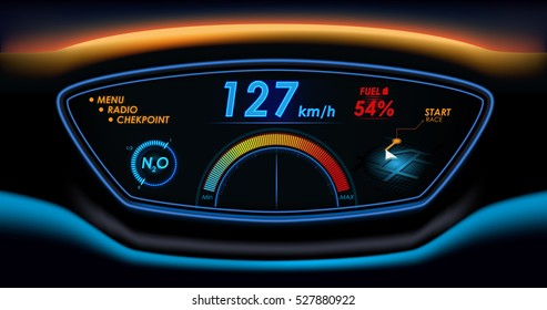 car HUD dashboard. Futuristic user interface HUD and Infographic elements. Abstract virtual graphic touch user interface.