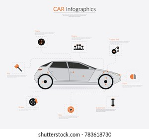 Car HUD Infographics Parts. Vector Illustrator