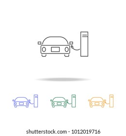 Car Hydrogen Station icons. Element of ecology for mobile concept and web apps. Thin line  icon for website design and development, app development. Premium multicolor icons on white background