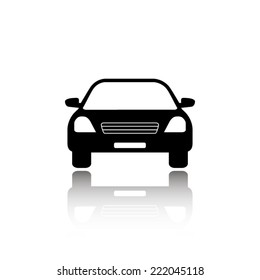 Car icon - black vector illustration with reflection