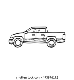Car icon in doodle sketch lines. Truck, double cabin, 4x4, 4 wheel driver