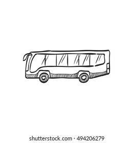 Car icon in doodle sketch lines. Bus, transportation