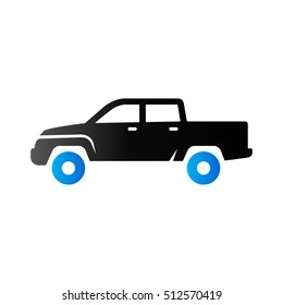 Car icon in duo tone color. Truck double cabin