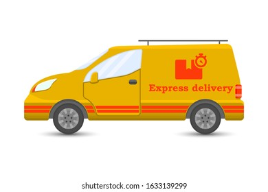 Car icon for express cargo delivery. Cartoon performance. Isolated vector on a white background. - Shutterstock ID 1633139299