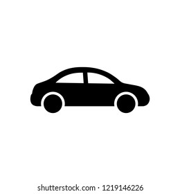 Car icon in flat style. Car symbol isolated on white background. Transportation icon Simple vector symbol for web site design or button to mobile app. Vector illustration.