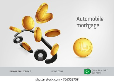 Car icon with flying Islamic Rial coins, finance concept. Vector illustration for print, websites, web design, mobile app, infographics.