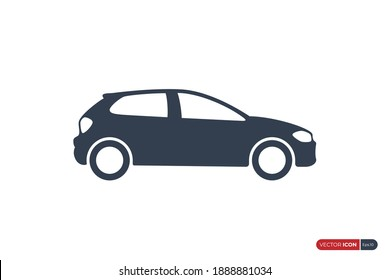 Car Icon isolated on White Background. Flat Vector Icon Design Template Element.