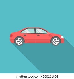Car icon with long shadow. Flat design style. Car simple silhouette. Modern, minimalist icon in stylish colors. Web site page and mobile app design vector element.