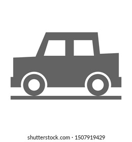 car icon on the road isolated on white background. vector illustration